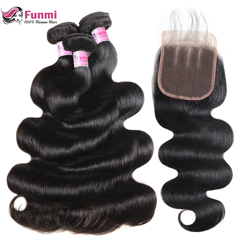 Funmi Body Wave Bundles With Closure 4X4 Inch Malaysian Hair Bundles With Closure 3 Bundles With Closure 100% Virgin Human Hair