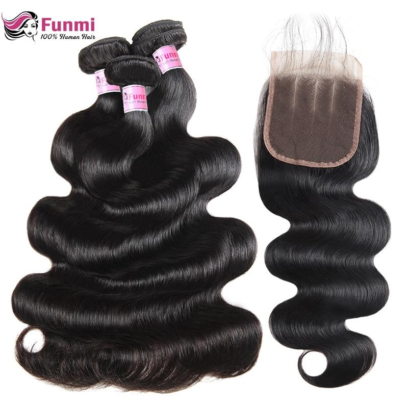 Funmi Body Wave Bundles With Closure 4X4 Inch Malaysian Hair Bundles With Closure 3 Bundles With Closure 100% Virgin Human Hair