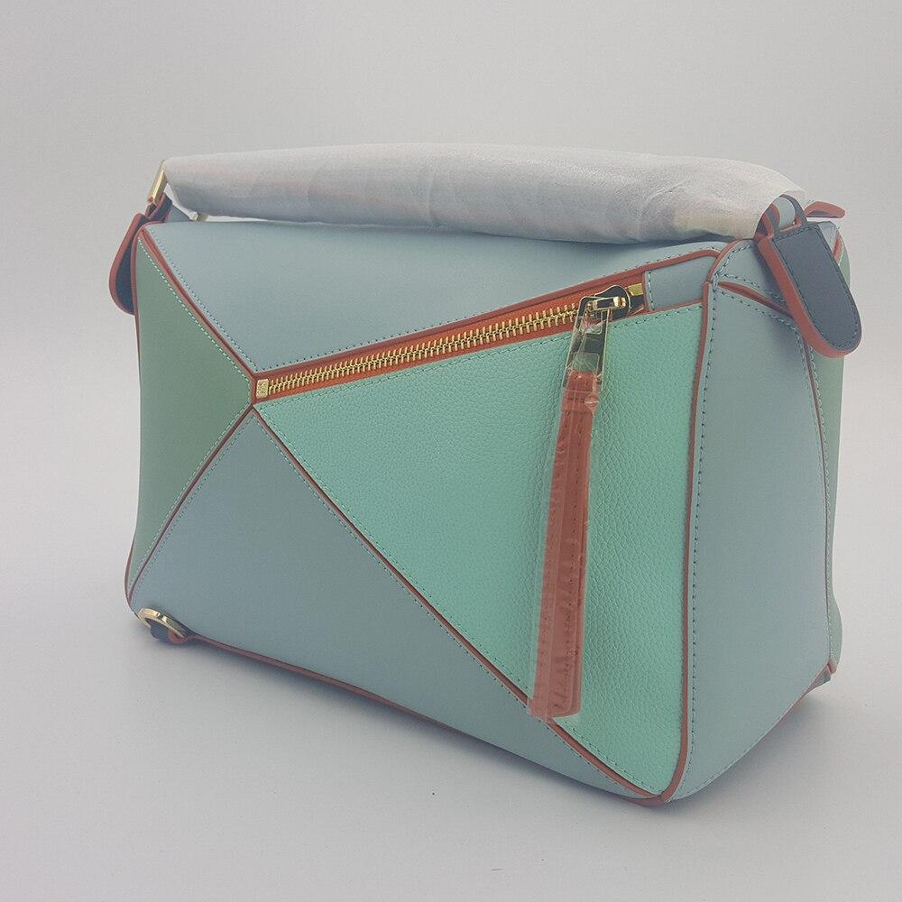 Vache en cuir véritable multi-couleur sac géométrique sac à bandoulière femmes épaule diagonale sac fourre-tout marque de luxe Crossbdy Ins populaire