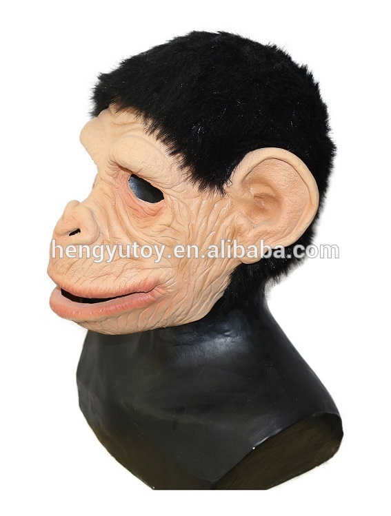Adult Animal Fancy Dress Latex Orangutan Monkey Ape Baboon Head Mask Action Mouth Moves
