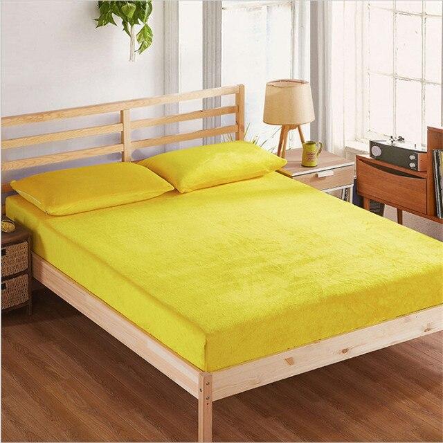 Hohe Qualität Einfarbig Flanell Spannbetttuch Blatt Weich Und Warm