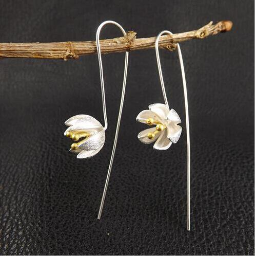 New arrival hot sell fashion lotus flower 925 sterling silver ladies stud earrings jewelry drop shipping Valentine's Day