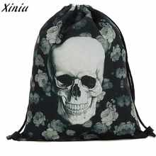 2018 Halloween Large Shopping Beach Drawstring Bag 3D Cartoon Printing  Pattern Skull Backpack School Bag For