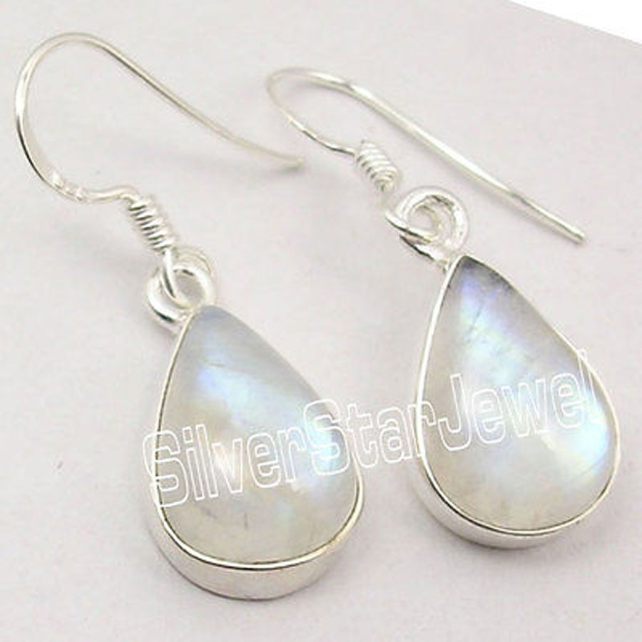 Solid Silver Natural Drop Blue Fire Rainbow Moonstone Pretty Earrings 33cm