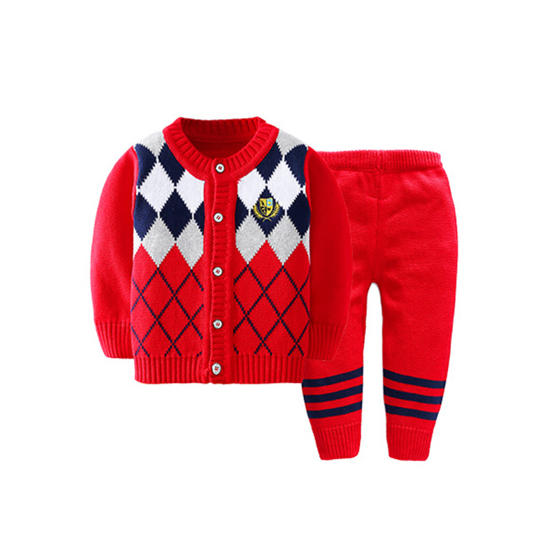 2PCS Baby Cardigan Set Plaid Sweater Pants Suits Knitting Boys Sweater Warm Autumn Winter Boys Suits Fashion Baby Boys Clothing
