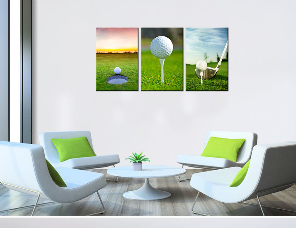 Sports Canvas Painting 3 Piece Golf Wall Art Prints Ball Picture For Home  Decor Golf Course Scenery Green Lawn Landscape Artwork In Painting U0026  Calligraphy ...