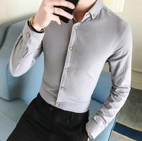 Men French Cufflinks Shirt 2018 New Men's Shirt Long Sleeve Casual Male Brand Shirts Slim Fit Solid Summer Formal Dress Blouse