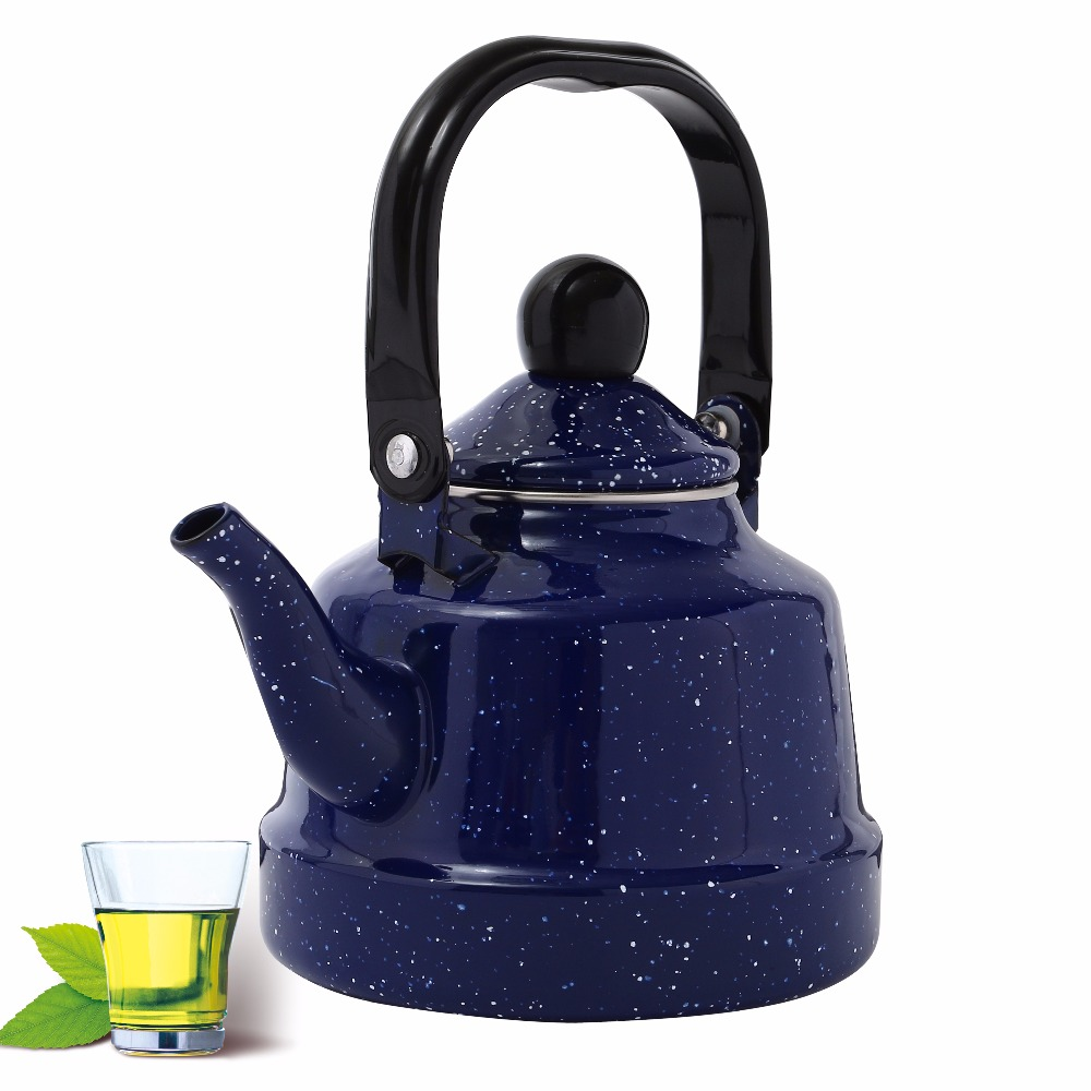 1 0L Pure Blue Kettle Brief Enamel Flower Kettle Used On Electromagnetic Stove Gas Range Electronic