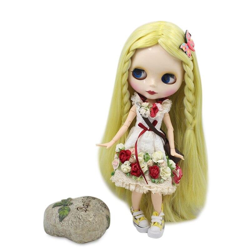 Oyuncaklar ve Hobi Ürünleri'ten Bebekler'de BUZLU Çıplak Fabrika Blyth Doll Serisi No.280BL0849/1003 Sarı karışımı beyaz saç beyaz cilt Ortak vücut Neo 1/6 BJD'da  Grup 1