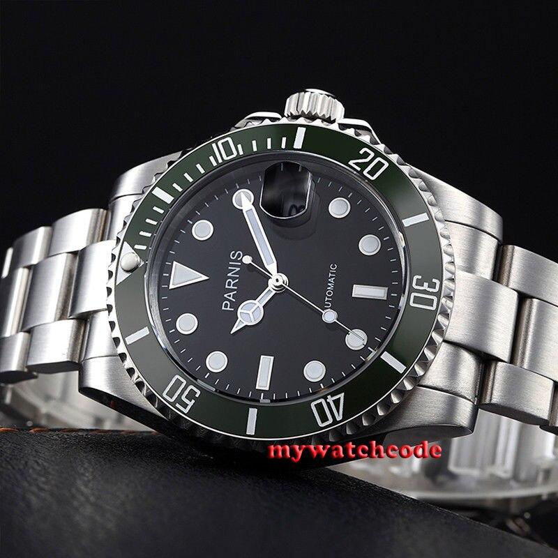 40mm Parnis black dial green bezel luminous marks sapphire glass MIYOTA automatic Mens Watch цена и фото