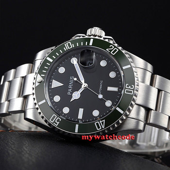40mm Parnis black dial green bezel luminous marks sapphire glass MIYOTA automatic Mens Watch