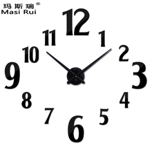 Masi Rui 3d large wall clock home decor quartz diy wall watch clocks living room metal Acrylic mirror horloge free shipping