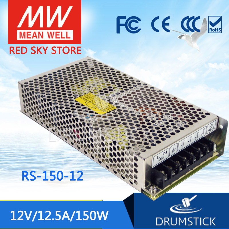 ФОТО [freeshippingC 1Pcs] MEAN WELL original RS-150-12 12V 12.5A meanwell RS-150 150W Single Output Switching Power Supply