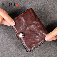 AETOO Original retro buckle top layer leather short wallet Vertical pleated vertical old rub color tide