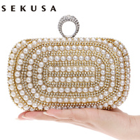 Beaded Women Evening Bags Diamonds Finger Rings Small Purse Day Clutches Handbags Silver Gold Black Pearl