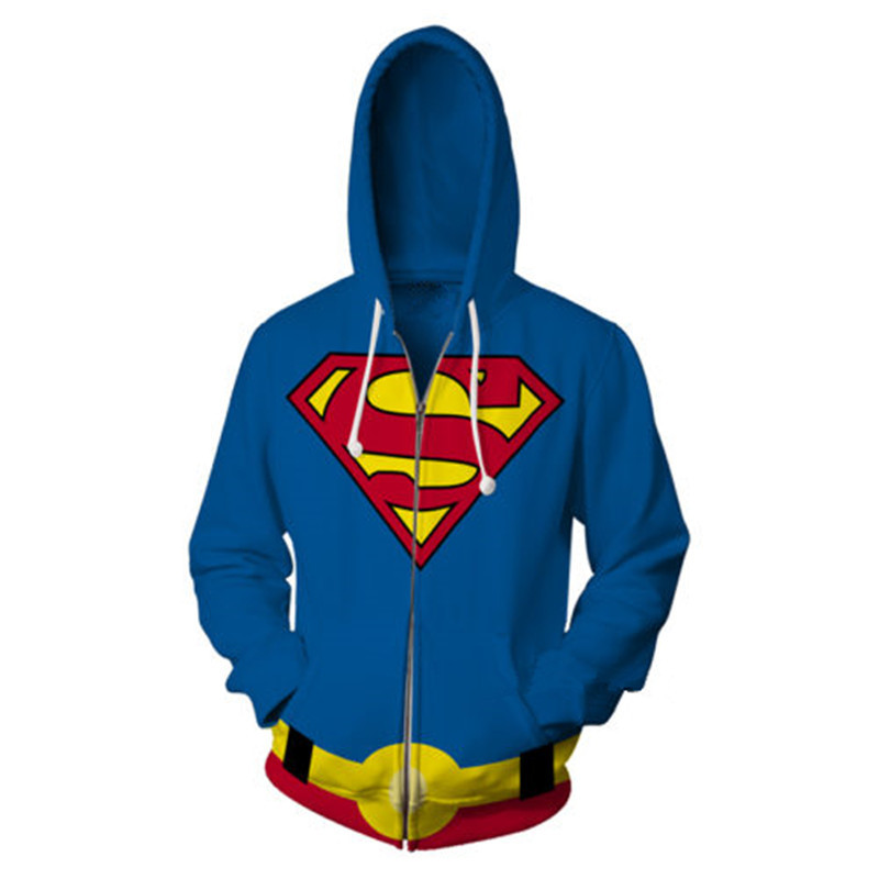 2018 new fashion Cool sweatshirt Hoodies Men women 3D print superman Captain America Streetwear Long sleeve Zipper Jacket