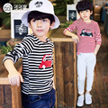 2016 new children's clothing boys long-sleeved T-shirt Large child bottoming shirt spring striped shirt tide