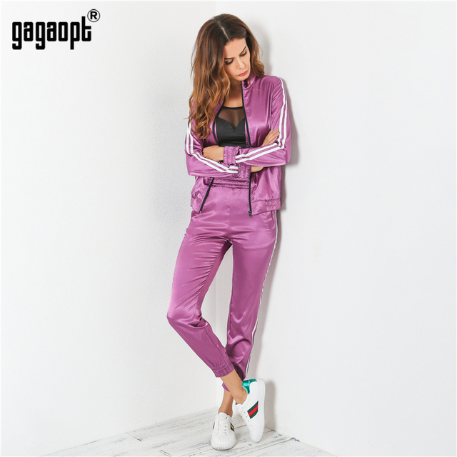 Gagaopt 2018 Tracksuit Women Spring Autumn Casual 2 Pieces Purple/Green Suit (Hooded Sweatshirt+Long Pants) Zipper Leisure Suits