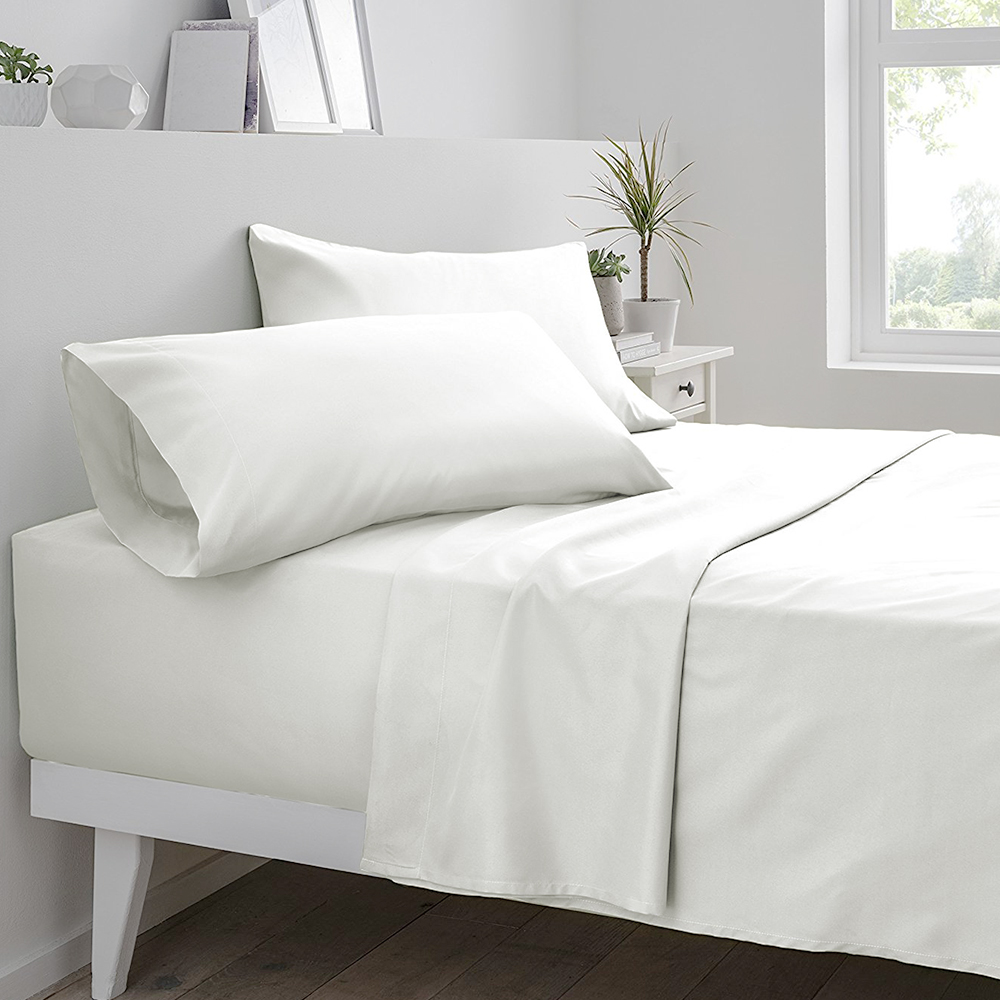 Oakome 4-Piece Set Fitted Flat Sheet Pillowcase 1800 Thread Count Polyester White Brief Home Textile image