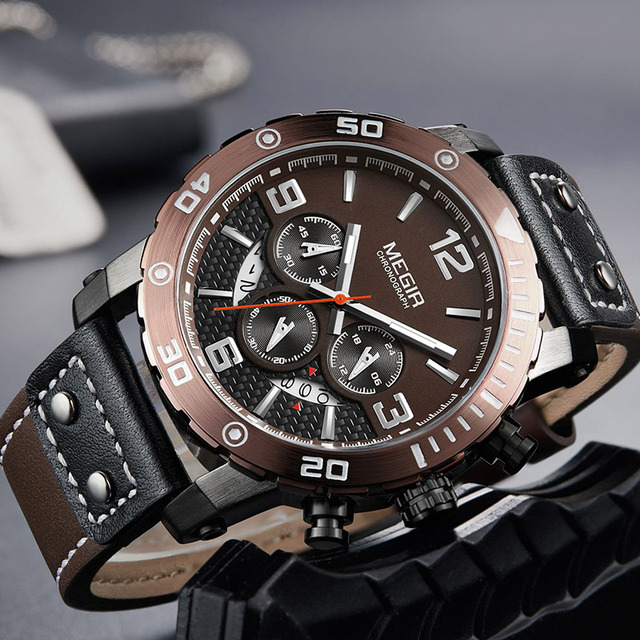 MEGIR Top Brand Luxury Men's Fashion Quartz Wrist Watch Military Sports Watches Men Leather Strap Clock Male Relogio Masculino | Fotoflaco.net