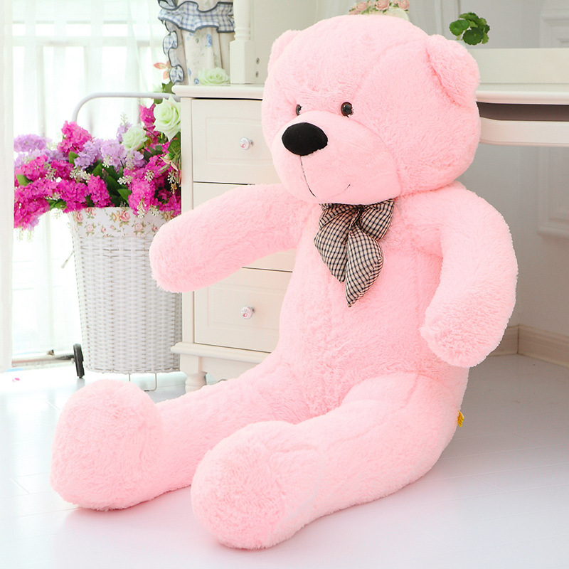 lovely pink huge plush teddy bear toy cute big eyes bow stuffed teddy bear doll gift about 160cm the huge lovely hippo toy plush doll cartoon hippo doll gift toy about 160cm pink