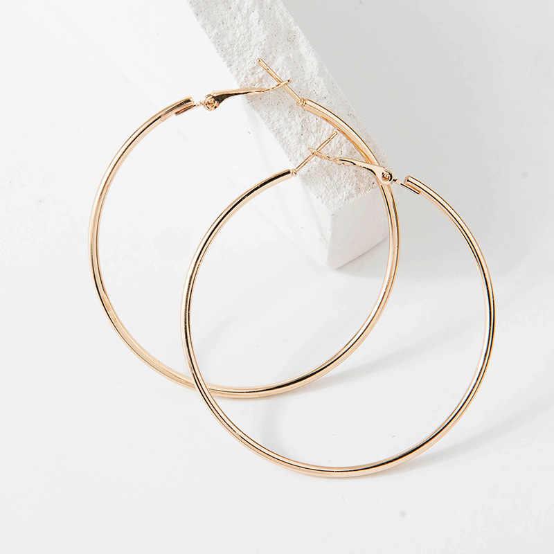 40mm 60mm 70mm 80mm exagerar grande círculo liso brincos de argola brincos simples festa redonda brincos de laço para jóias femininas