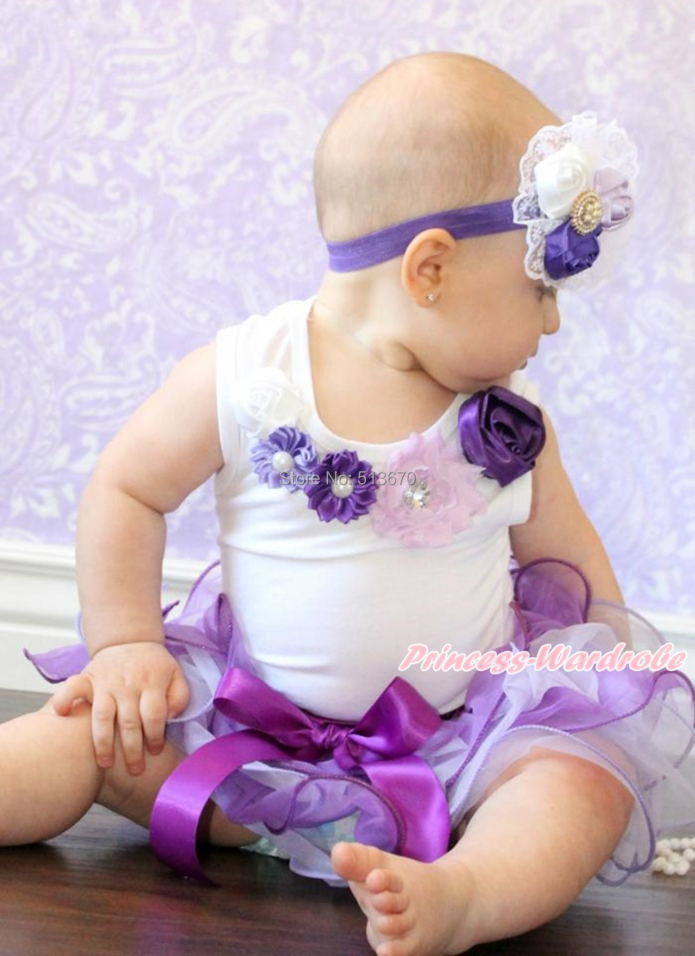 Baby Girl Pearl Flower White Top Purple Lavender Petal Pettiskirt Set NB-8Y MAMG620 цены онлайн