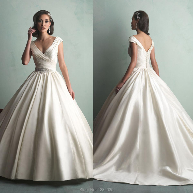 Sexy Custom Satin Wedding Dress 9155 Cinderella Ball Gown V Neck V Back Off The Shoulder Cap