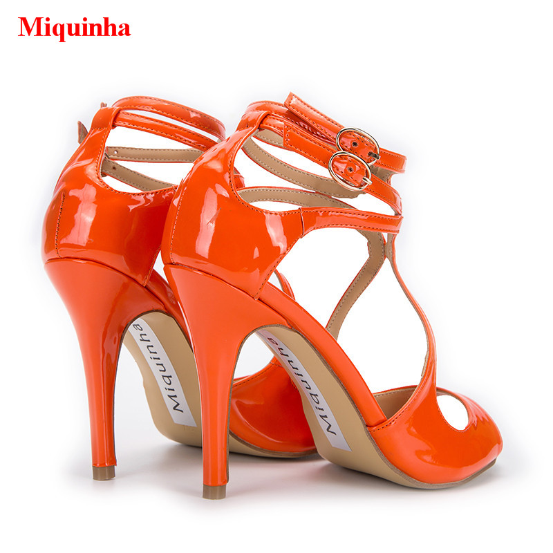 d6d56a9b33a7b 2018 Summer Orange Women Sandals Patent Leather Strappy Designer Stiletto  Gladiator Women Sandals Peep Toe Sexy Shoes Women-in High Heels from Shoes  on …
