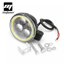 1PC Waterproof Motorcycle Projector 4 LED Headlight With Angel Eye Halo Ring Motors Accessories 1800LM Fog Lights