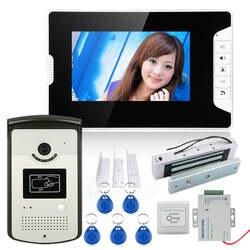 """7 """"Цвет телефон видео домофон Системы с 1 Мониторы 1 RFID HD Дверные звонки 1000tvl Камера + Магнитный замок 180 кг"""