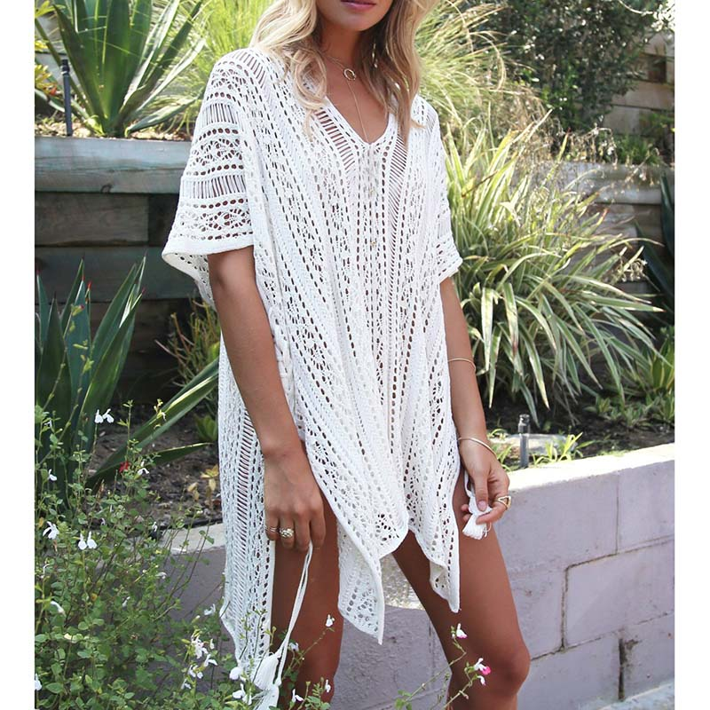 Knitted Pareo Beach 2017 New Bathing suit cover ups Hollow Sexy Swimsuit Cover up Beach Tunic Plage Beachwear Cover-Ups femme en soutien gorge rouge