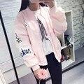 2016 Весной и Осенью Розовый Бомбардировщик Куртка Женщин BF стиль Вышивки Письма Случайные Свободные Куртки армии