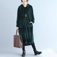 2019 Autumn Brand Women Velvet Dress Green red long sleeve loose causal hooded Dresses Outwear Spring outwear dress Vestidos