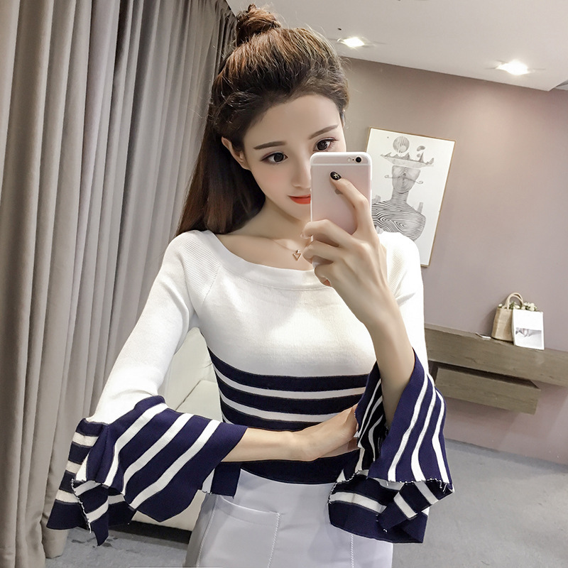 New Arrival Autumn and Winter Basic Women Pagoda Sweater Slit Neckline Strapless Sweater Thickening Sweater Top