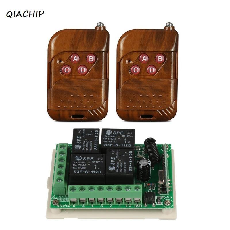 QIACHIP Remote Control Switch 433mhz DC 12V 4CH RF Relay Receiver Module and 433 Mhz RF Transmitter Wireless Remote Controls H3 dc 12v led display digital delay timer control switch module plc automation new