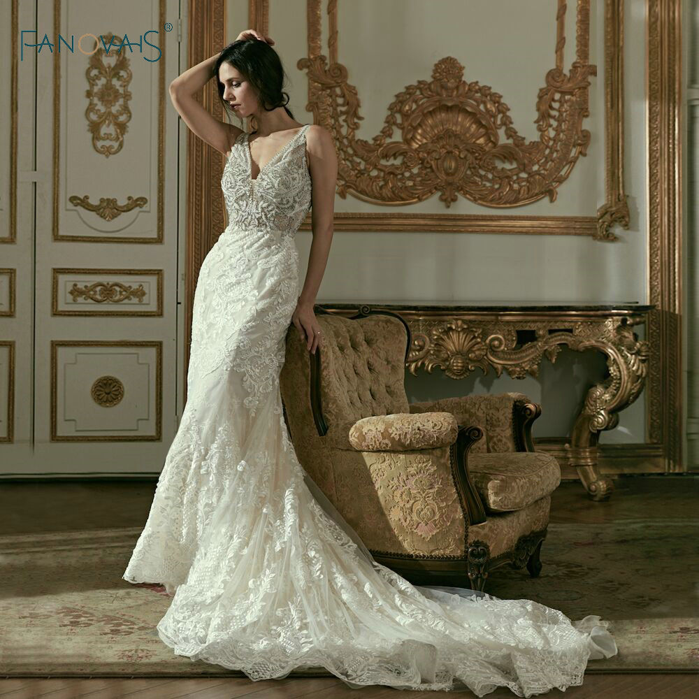 Lace Mermaid Wedding Dresses Backless Sexy Beads Bridal Gowns Shinning Vestido De Novia Robe De Matiage Luxury Wedding Dress