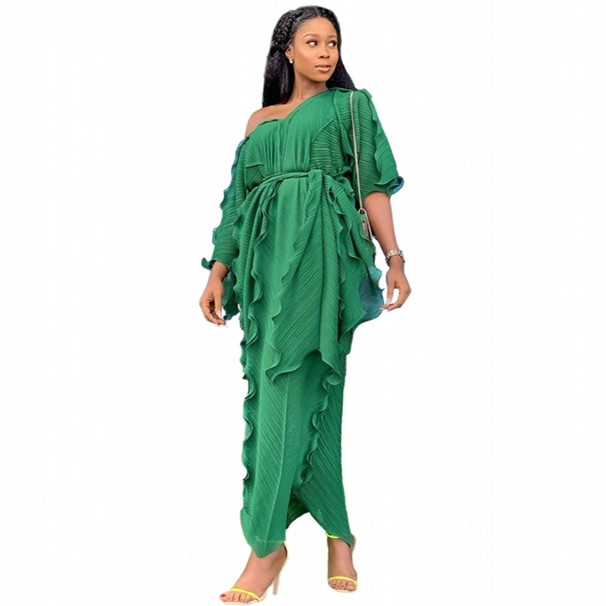 New Style Classic African Women's Dress Dashiki Fashion Ruffled Flounce Loose V-neck Mid-sleeve Dress African Dresses For Women