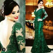 2016 elegante Emerald Green Spitze Abendkleider V-ausschnitt, Langen Ärmeln Backless Meerjungfrau Gericht Zug Formale Kleider