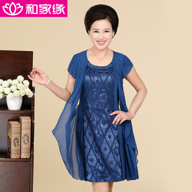 Lace Handmade Diamond O Neck Middle Age Women Dress Formal Dresses