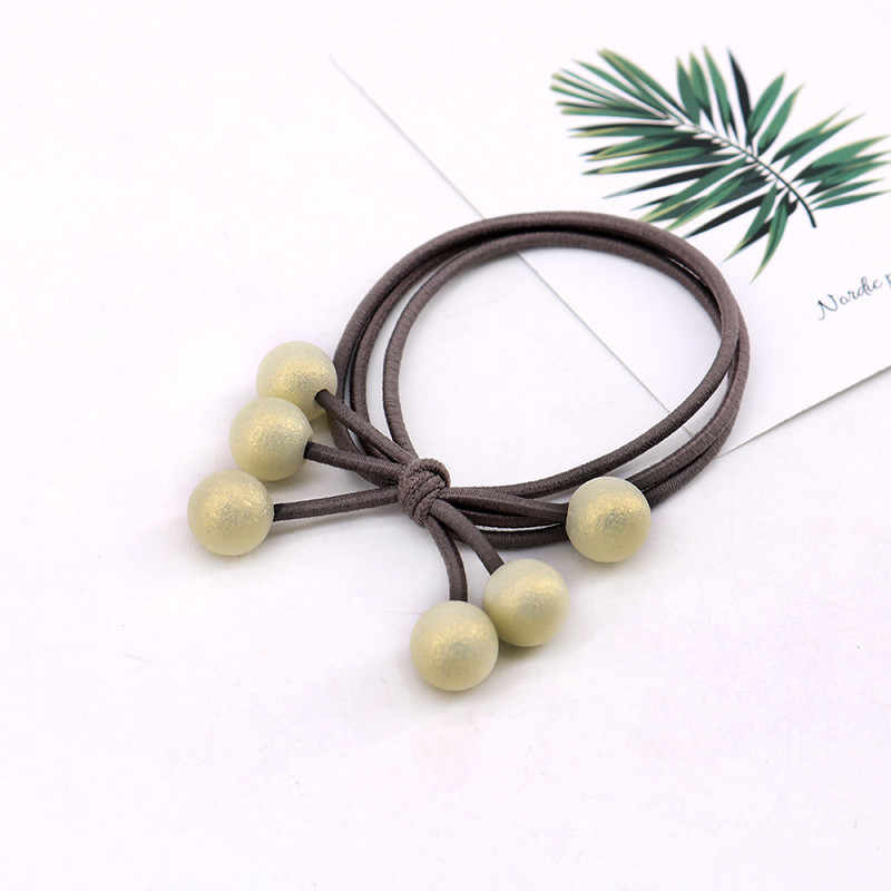 Korean cute Women differfent colors Hair Rope 1pcs with beautiful Pearls bow Elastic Three Rubber Band Elastic Hair Bands