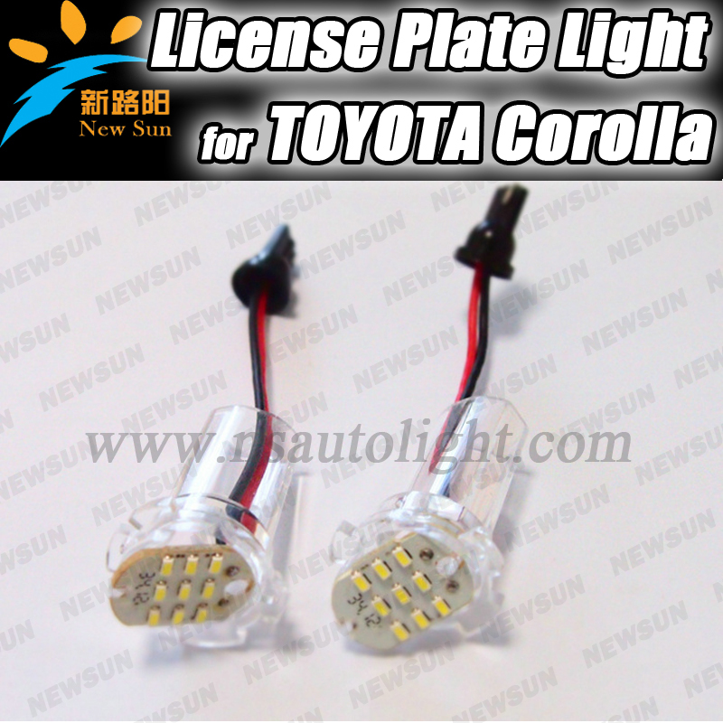Quality product for Corolla led license plate lamp for Toyota 12V 7000K white number plate lights for alphard, atis, ist, wish for lexus toyota corolla atis 2001 2007 led car license plate light number frame lamp high quality led lights