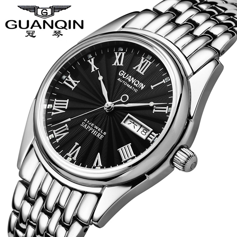 Luxury Brand Watch GUANQIN Automatic Mechanical Date Watch Business Men Watch Waterproof Steel Mens Wristwatch Relogio Masculino top brand men automatic self wind watch guanqin date watch men s fashion casual leather mechanical wristwatch relogio masculino