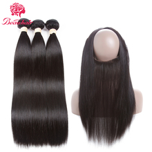 Beau Hair Peruvian Straight 3 Bundles With 360 Lace Frontal Deals Natural Color Non-Remy Human Hair Weaving With Closure Deals