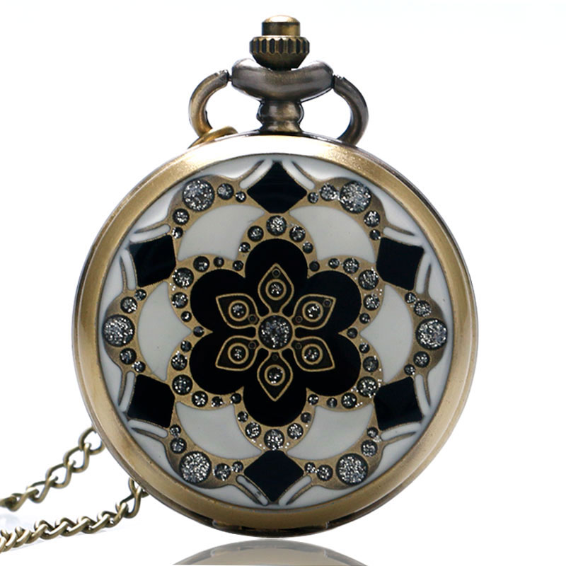Exquisite 2020 Steampunk Vintage Elegant Ceramics Flowers Crystal Pocket Watch Pendant Quartz Chain Women Gift Relogio De Bolso