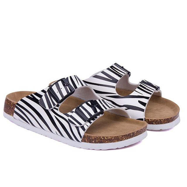 25f9457e0906 placeholder COSMAGIC Fashion Summer Cork Slippers 2018 New Women Casual  Beach Double Buckle Printed Slip on Slides