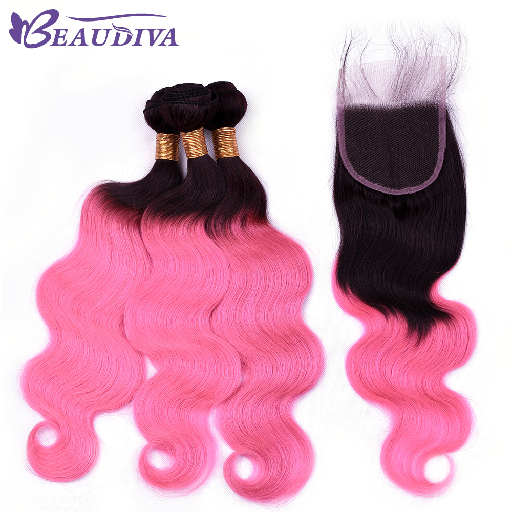 Beaudiva Hair TB Pink Color Brazilian Body Wave Hair 2/3 Bundles With 4*4 Closure Human Hair Extention Human Hair Free Shipping ...