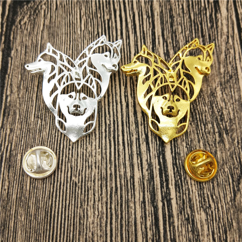 LPHZQH cute Siberian Husky Broches and pins gold silver color Collar Pin dog Jewelery Clothing Accessories Men's Gift