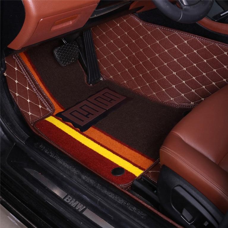 Car floor mats for Hyundai ix25 ix35 Elantra SantaFe Sonata Solaris Veloster Waterproof leather carpet liners