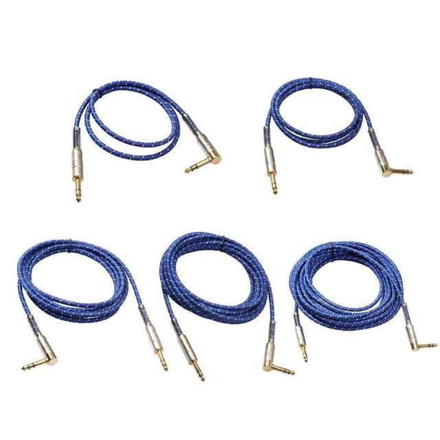 90 Grado de alta calidad estéreo de 6,35mm macho a macho Cable de Audio para guitarra eléctrica micrófono AMPLIFICADOR DE POTENCIA de combinación de audio